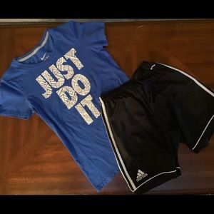 Girls Outfit nike slim fit small shirt xl shorts